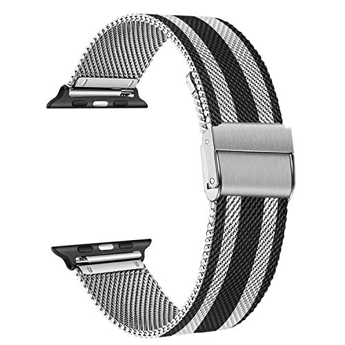 TRUMiRR Reemplazo para Apple Watch 42mm 44mm Correa de Reloj, Correa de Reloj de Acero Inoxidable Negro Correa de Metal...