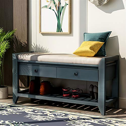 Shoe Rack with Cushioned Seat and Drawers, Multipurpose Entryway Storage Bench (Antique Navy)
