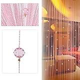 AFUT Pink Beauty String Tassel Crystal Beads Curtain Door Window Panel Room Divider Decoration TJB