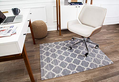 "Anji Mountain Chair Mat Rug'd Collection, 1/4"" Thick - For Low Pile Carpets & Hard Surfaces, Mitte , Gray and Ivory Trellis"