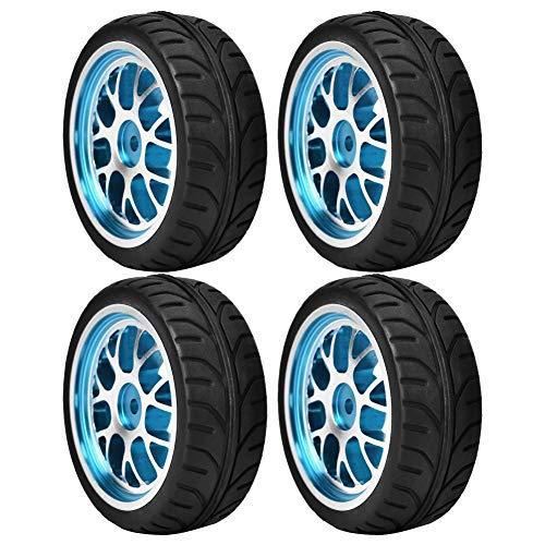 VGEBY1 Ruedas de Coche RC, neumático de Goma 4pcs con Borde de aleación de Aluminio para Coche RC 1/10(Curved-Azul)