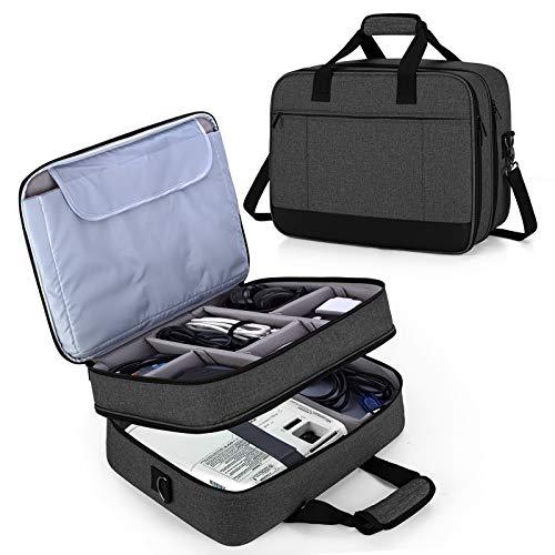 Luxja Beamertasche, Doppelschicht Projektortasche für Beamer und Zubehör, Beamer Reisetasche für Unterwegs, Büro, Office usw, Schwarz