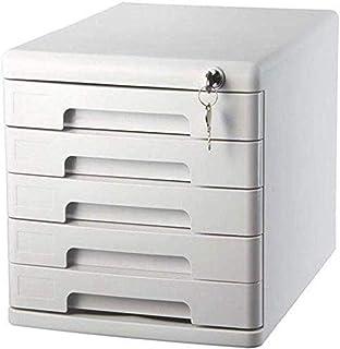 Armoire à fichiers Armoires de fichiers avec serrure et tiroir mobiles multi-fonctions Cabinet 5 tiroirs Couleur: Noir, Bu...