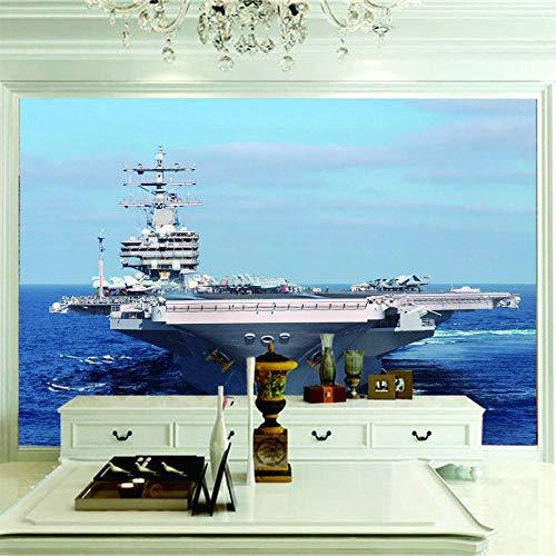 Vlies Wand Tapete Flugzeugträger 3D Tv Tapetenwandbilder 3D Seelandschaft Fernseher Einstellung Wandtapete.300X210Cm (Breite X Höhe)
