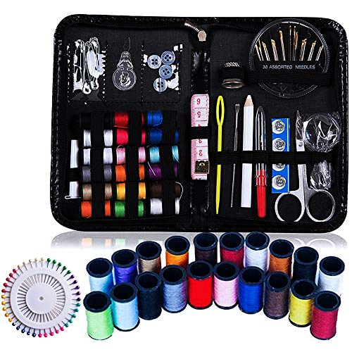 Happlee Mini Sewing Kit, 155 DIY Premium Sewing Supplies with 38 Spools of Thread, 40 Quality Sewing Pins, Scissors, Tape Measure, Carrying Case and Accessories, Travel, Kids, Beginners, Emergency