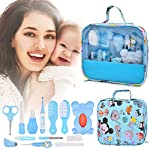 Baby Healthcare Grooming 14 Kits, 13In1 Baby Care Products Nail Clippers Trimmer Set, Newborn Essentials Stuff Shower Gifts, Comb Brush Thermometer Medicine Dispenser, Nursery Care First Aid Kit, Blue