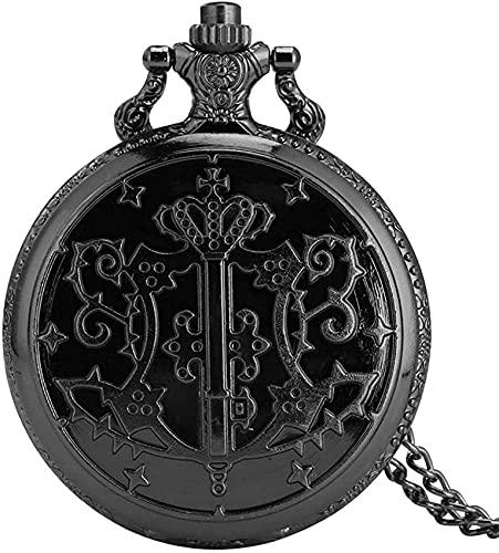 DNGDD Taschenuhr Typisch Comic Black Butler Theme Taschenuhr für Herren,Elegantes weißes Zifferblatt mit römischen Ziffern Taschenuhren für Damen,Premium Black Slim Chain Anhängeruhr für Mädchen W