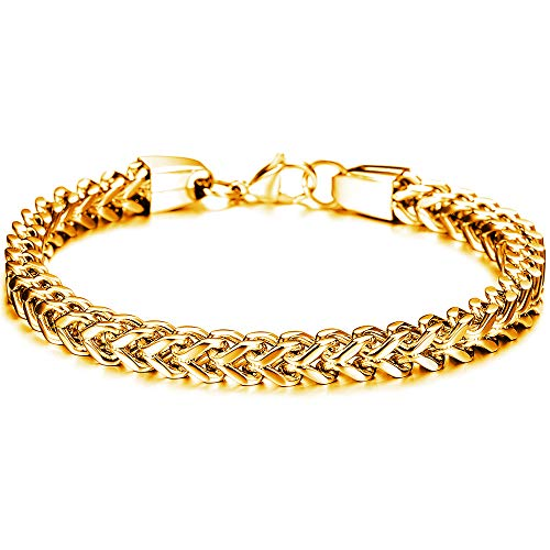 Mens Sturdy Curb Cuban Link Chain Bracelet 316L Stainless Steel Gold Plated/Silver 6/12/14mm Width 8.5/8.9/9.4 inch Length with Gift Box (Gold 6mm)