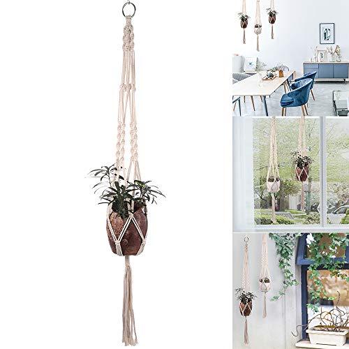 Colgador y ganchos de macramé para plantas, soporte para plantas para colgar en interiores y exteriores, juego de jardineras colgantes de cuerda de algodón hecho a mano, soporte...