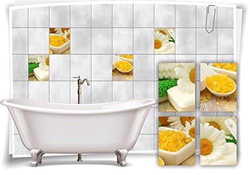 Medianlux tegelsticker, tegelafbeelding, kamille, zeep, zout, geel, groen, wellness, SPA, sticker, tegels, badkamer, toilet