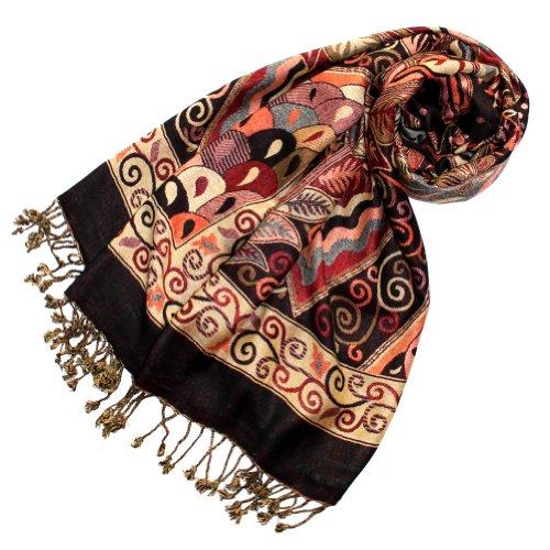 Lorenzo Cana Marken Pashmina Damenschal Schaltuch Stola Umschlagtuch Naturfaser opulentes Muster in braun Farben mit Fransen 70 cm x 200 cm - 78112