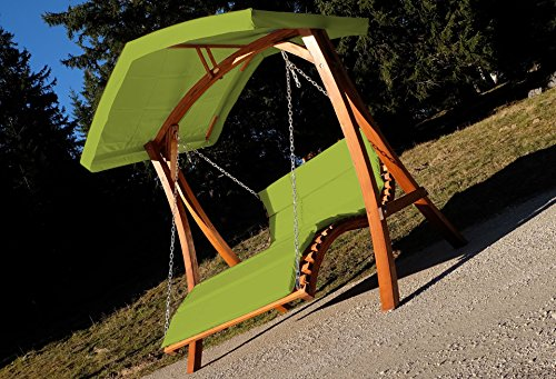 Design Hollywoodliege Doppelliege 'Aruba' aus Holz Lärche mit Dach von AS-S, Farbe:Grün - 2