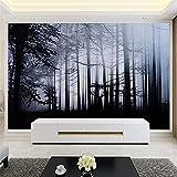 BLZQA Fotomurales Papel pintado tejido no tejido Murales moderna Bosque oscuro Arte de la pared Decoración de Pared decorativos 300x200 cm-6 panelen