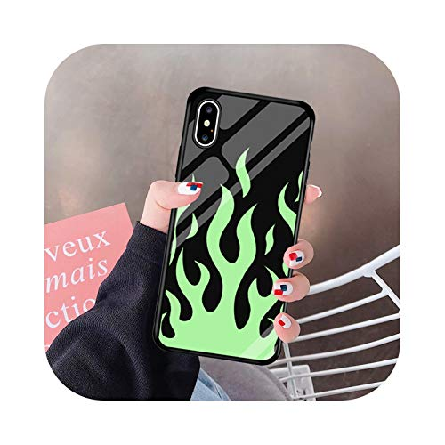 Carcasa de cristal templado con llama para iPhone 11 Pro 12 XS MAX 7 SE20 XR X 8 6Plus Cool Fire Cover Bag-3-For iPhone XR