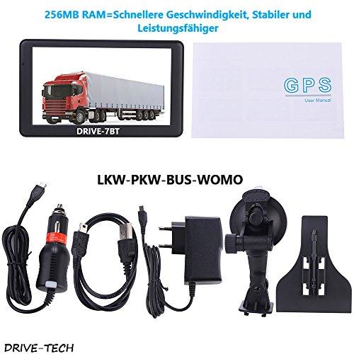 Nawigacja o przekątnej 7 cali DRIVE-7BT do samochodów ciężarowych, samochodów osobowych, autobusów, kamperów. Ostrzeżenie o radarach, bezpłatna aktualizacja map. Bluetooth, AV-INKL kamera cofania z kablem o długości 15 m