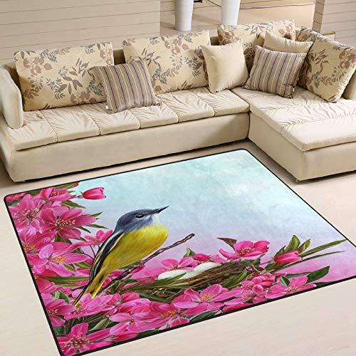 Alfombra con diseño de pájaro pequeño cerca del nido, 72 x 48 pulgadas, para comedor, hogar, dormitorio, habitación