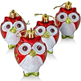 Ornativity Glitter Christmas Owl Ornaments - Snowy Glitter White and Red Animal Owls Christmas Tree Ornament Decorations - 4 Birds