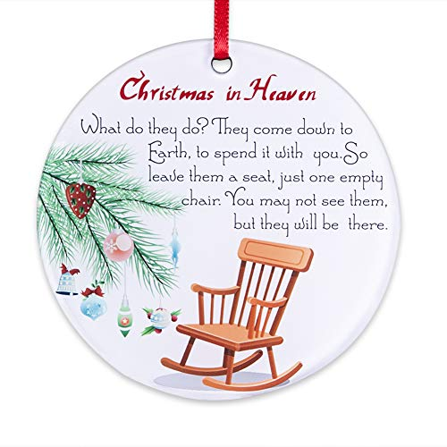 "FaCraft Christmas Ornaments Keepsake Double-Sided Christmas in Heaven,3.5"" Memorial Christmas Ornaments with Chair,Christmas Tree Decorations"