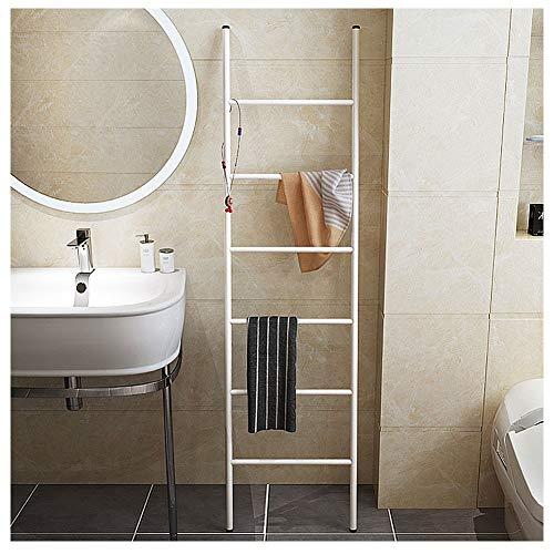 M-TOP Toallero Decorativo para Cuarto de baño, Escalera para Toallas de Metal, Color Blanco con 6 peldaños sin taladrar, Ahorra Espacio para Toallas, Ropa, revistas