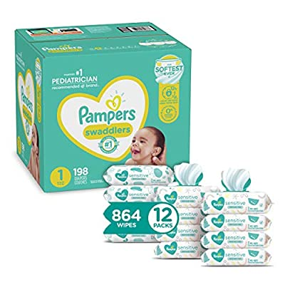 Diapers Newborn/Size 1 (8-14 lb), 198 Count and Baby Wipes