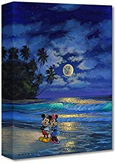 Disney Fine Art - Romance Under The Moonlight by Walfrido Garcia - Treasures on Canvas Mickey Mouse 16 Inches x 12 Inches Reproduction Gallery Wrapped Canvas Wall Art