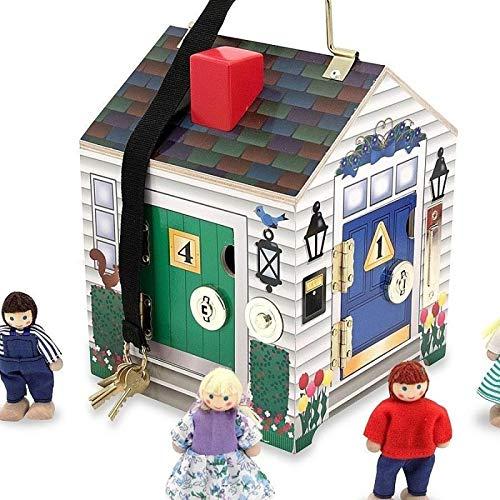 Melissa and doug - Jouet d'éveil Maison en bois avec 4 sonnettes 4 clés 4 portes 4 figurines 3 ans+