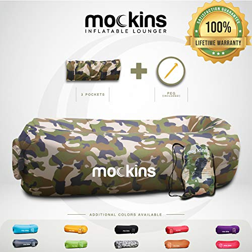 Mockins Camouflage Inflatable Lounger Hangout Sofa Bed with Travel Bag Pouch The Portable Inflatable Couch Air Lounger is Perfect for Music Festivals and Camping Accessories Inflatable Hammock