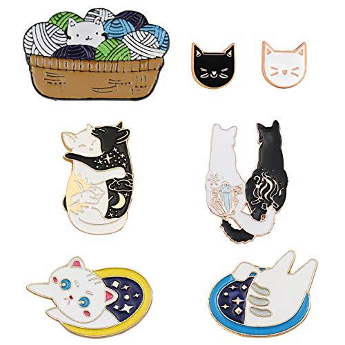 Gleamart Emaille Cat Brosche Set Rucksack Jacke Cap Revers Abzeichen Pins für Kleidung Tasche Dekoration Cat 7