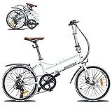 Marco De Acero De Alto Carbono Micro Bike,Bikes Plegado Urbana, Bicicleta Plegable, Sillin Confort,20 Pulgadas 6 velocidades Plegable Bicicleta Folding Bike Bicicleta