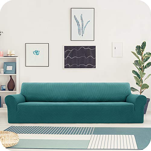 UMI. by Amazon Funda Sofa Suave Elastica de Color Liso 4 Plazas Turquesa