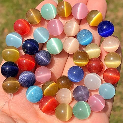 Multicolor Ojo de Gato Ópalo Piedra Natural Vidrio 4/6/8/10/12Mm Separador Suelto Piedra Lunar Perlas Para La Fabricación De Joyería Diy Pulsera Encontrar