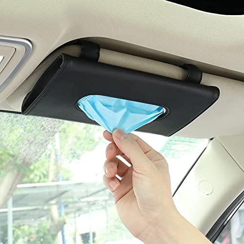 MIAODAM Mask Holder for Car, Car Mask Holder Visor Tissue Holder Car Tissue Holder Seatback Tissue Case (Black)