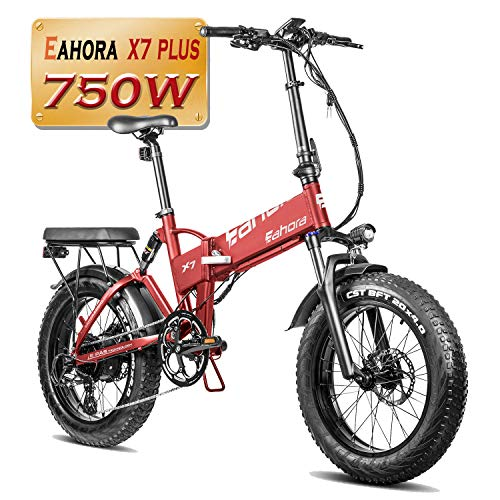 "eAhora X7 PRO 500W 20"" Fat Tire Folding Electric Bike, Cruise Control Electric Bikes for Adults, Dual Disc Brakes/Shimano 7 Speed System for Beach Snow Commuting with Power Regeneration System"