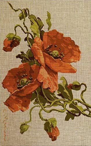 Kit para cuadro de punto de cruz Hilos de bordar Esquema de Punto de Cruz Ideal para principiantes -Flor de amapola 25 x 40 cm