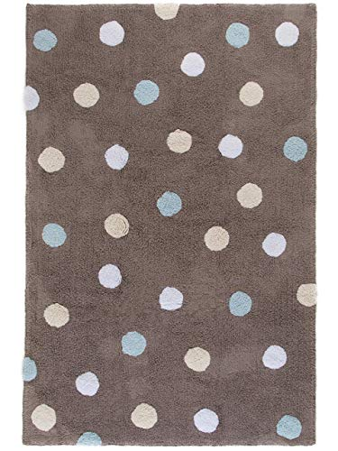 Benuta Kinderteppich Bambini Dots, Baumwolle, Blau, 120 x 180.0 x 2 cm