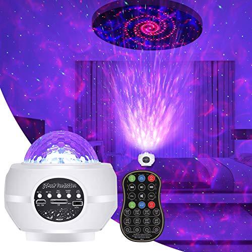 Opopark Star Lámpara Proyector, 32 Modos de Iluminación 3 en 1 Luz Nocturna Altavoz Bluetooth Incorporado con Control Remoto Luces para Decorativas Habitacion Fiesta,Blanco