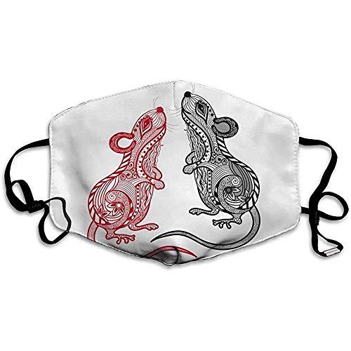 Mundschutz Lustige Abdeckung chinesische Tierkreis Ratte gedruckt Liebe Familie Mund Abdeckung süße Form