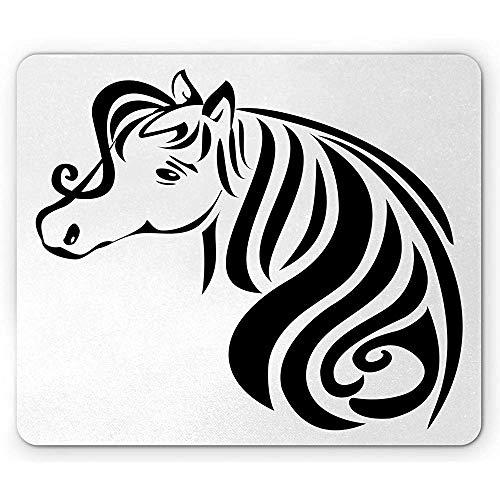 Western Paard Muis Pad, Tekening van Mare Hoofd met Lange Mane Eenvoudige Lijn Illustratie, Antislip Rubber Mousepad, Grijs en Wit