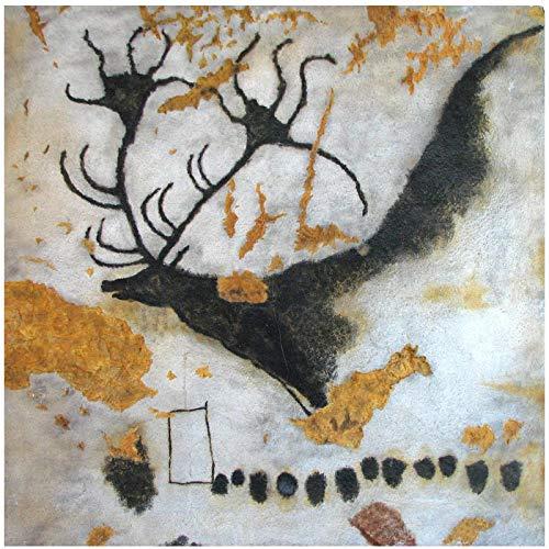 """Amazing Lascaux Cueva Pinturas Megaloceros Gigante Ciervo Cuadro Cuadro 17000 Años Arte Impresión Famosa Patrimonio Mundial Decoración - 24x24"""" Sin marco"""