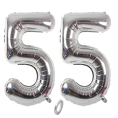 Jrzyhi Globos con números para 55 cumpleaños, plateados, con número 55, número 55, helio, número XXL, número 55, globos gigantes para cumpleaños, bodas, fiestas, decoración, 32 pulgadas