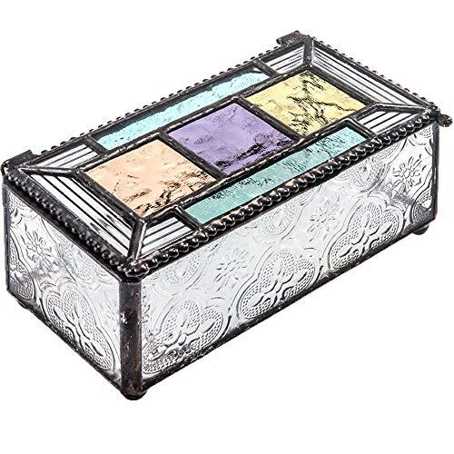 Colorful Stained Glass Box Jewelry Dish Trinket Keepsake Display Decorative Vintage Home Décor Purple Blue Peach Turquoise J Devlin Box 864