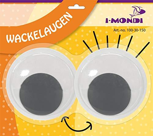 i-mondi® Wackelaugen XXL 2 Stück, Selbstklebend, Kulleraugen Schwarz-Weiß, Wobby Eyes 150mm Größe, Basteln Malen DIY Scrapbooking