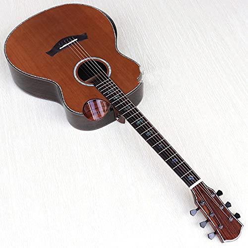 KEPOHK Guitarra acústica eléctrica profesional superior de madera de cedro rojo sólido de alto grado de 40 pulgadas con Radian Corner 40 pulgadas solo guitarra sin ecualizador