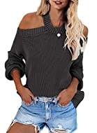 Feature:Sexy halter neck,cut out shoulder,loose fit,long sleeve sweater tops,backless loose jumper sweaters,pullover top Fashion fall sweater tops features with off the shoulder neck,which is easy to pair it with skinny leggings, jeans, pants for a s...