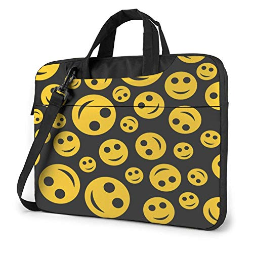 Laptop Messenger Laptop Bag Happy Yellow Face Funny Shoulder Bag Briefcase Office Laptop Sleeve Case Satchel Tablet for Men Women