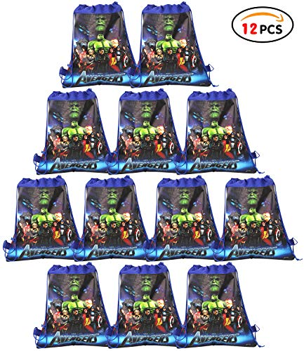 Qemsele Bolsa Mochilas Bolsas de cumpleañoscordón Dibujos Animados Mochila Bolsas para cumpleaños niños y Adultos la Fiesta favorece la Bolsa, Rellenos Bolsas Fiesta 12Pcs (Hulk, W10 * H12)