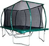 Skyhigh 8 Foot x 14 Foot Rectangular Trampoline with Safety Enclosure. Superior and Spacious Bounce. Doesn't Pull User into Centre of Mat.