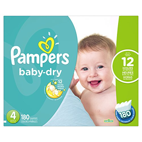 Pampers Baby-Dry Disposable Diapers Size 4, 180...