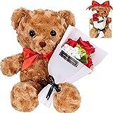 (CASA+BINO) ぬいぐるみ 誕生日プレゼント プレゼント 女性 彼女 結婚記念日 妻 くま 人気 薔薇 (レッド)