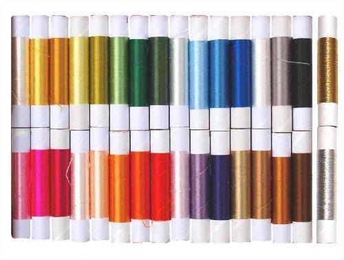 日本刺繍糸・釜糸*30色1セットプラス金糸銀糸*国産糸*1本25m巻き*無撚りの絹糸・シルク糸です。